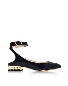 Lola Black Patent Leather Pearl Ballerina - Nicholas Kirkwood