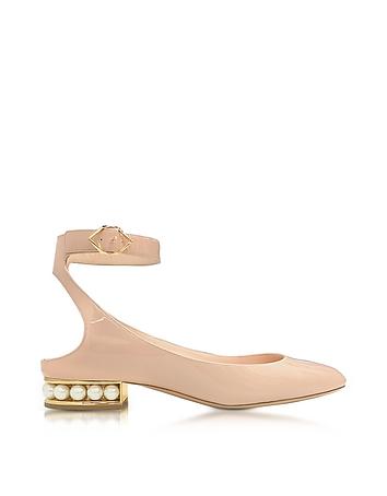 Nicholas Kirkwood - Lola Light Blush Patent Leather Pearl Ballerina