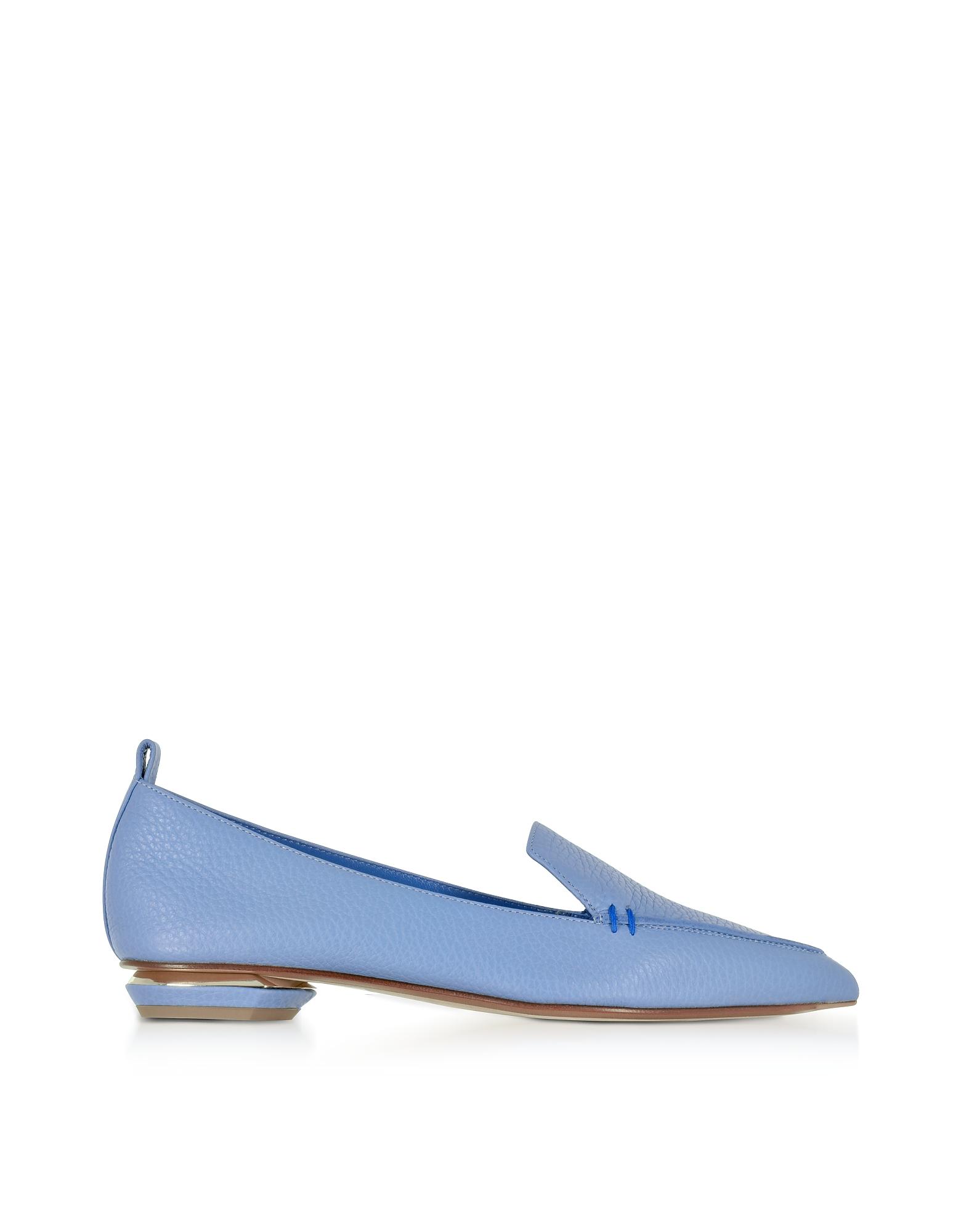 Nicholas Kirkwood Shoes, Beya Sky Blue Tumbled Leather Loafer