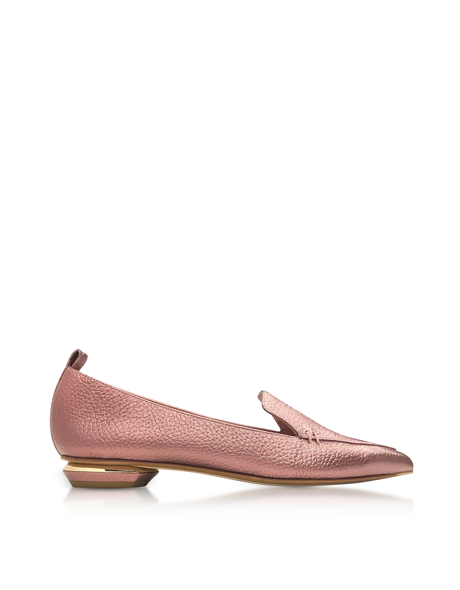 Beya Mocassino in Pelle Tumbled Metallizzata Dusty Pink