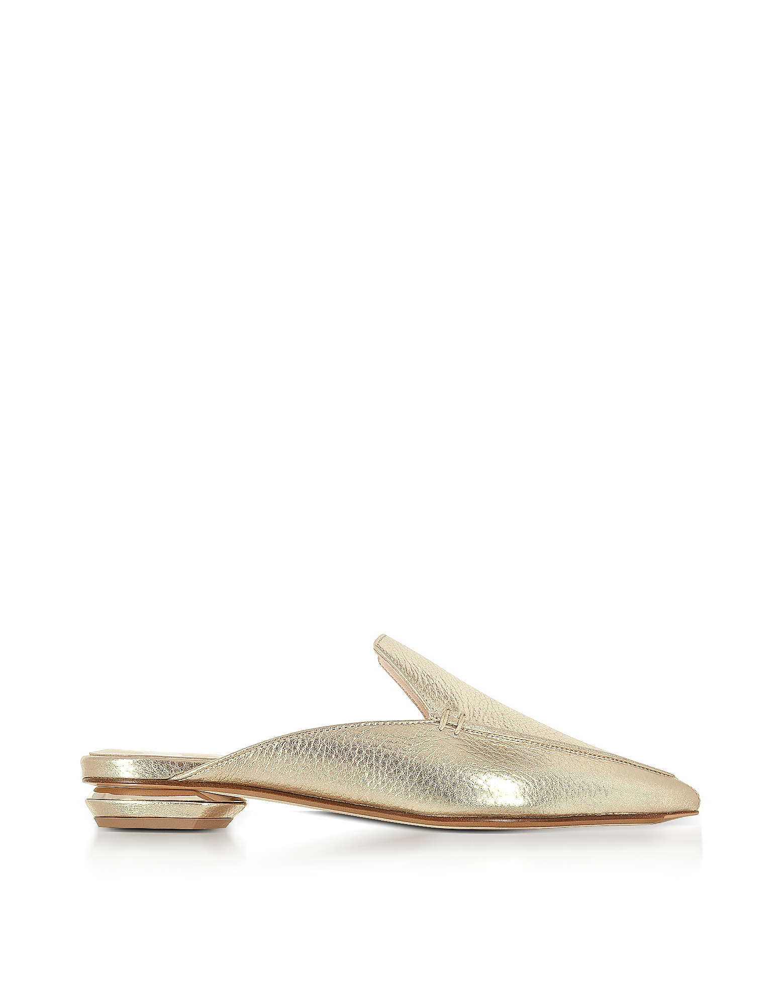 Nicholas Kirkwood Shoes, Beya Platino Metallic Tumbled Leather Loafer