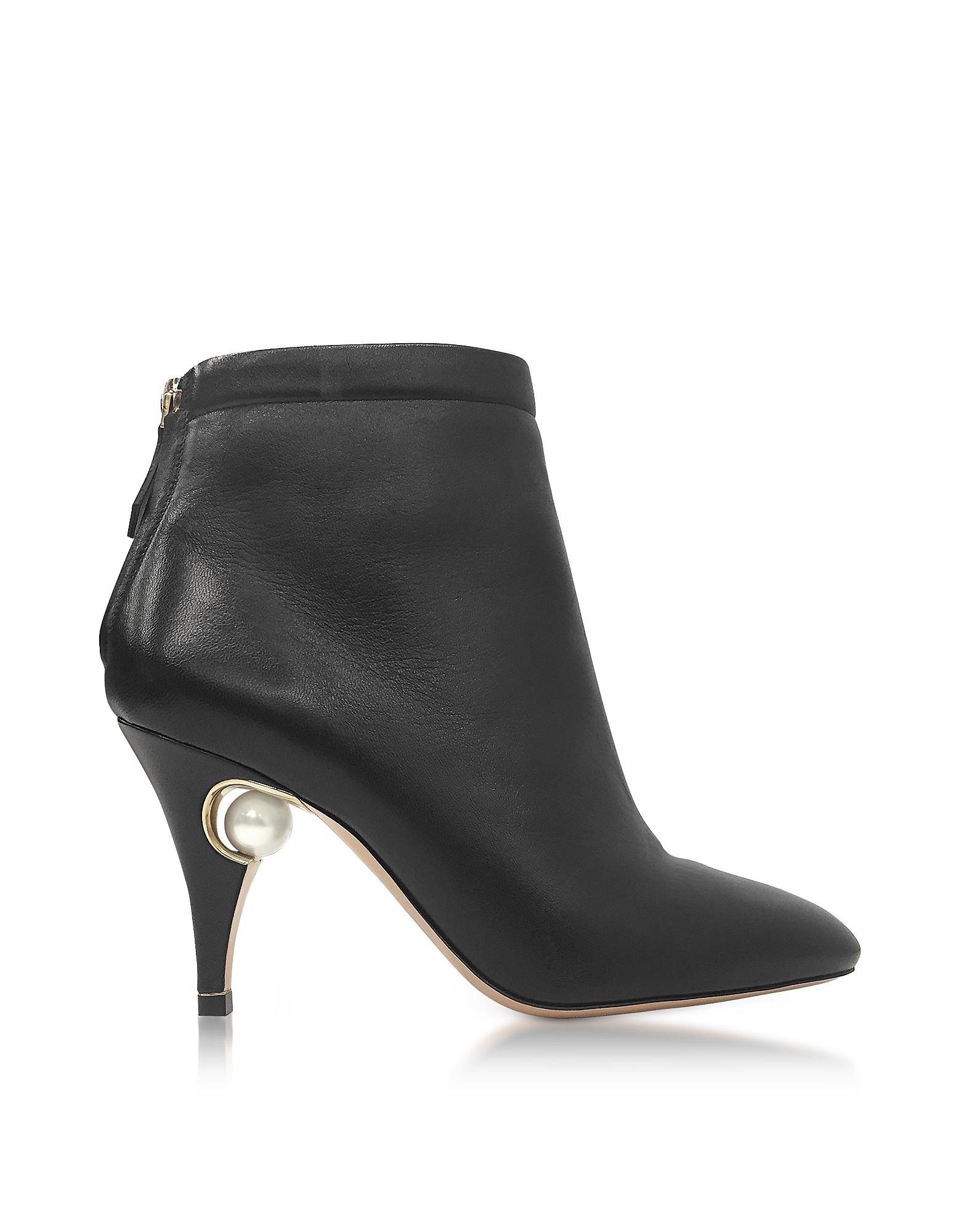 Nicholas Kirkwood Penelope Black Nappa Pearl Ankle Boot