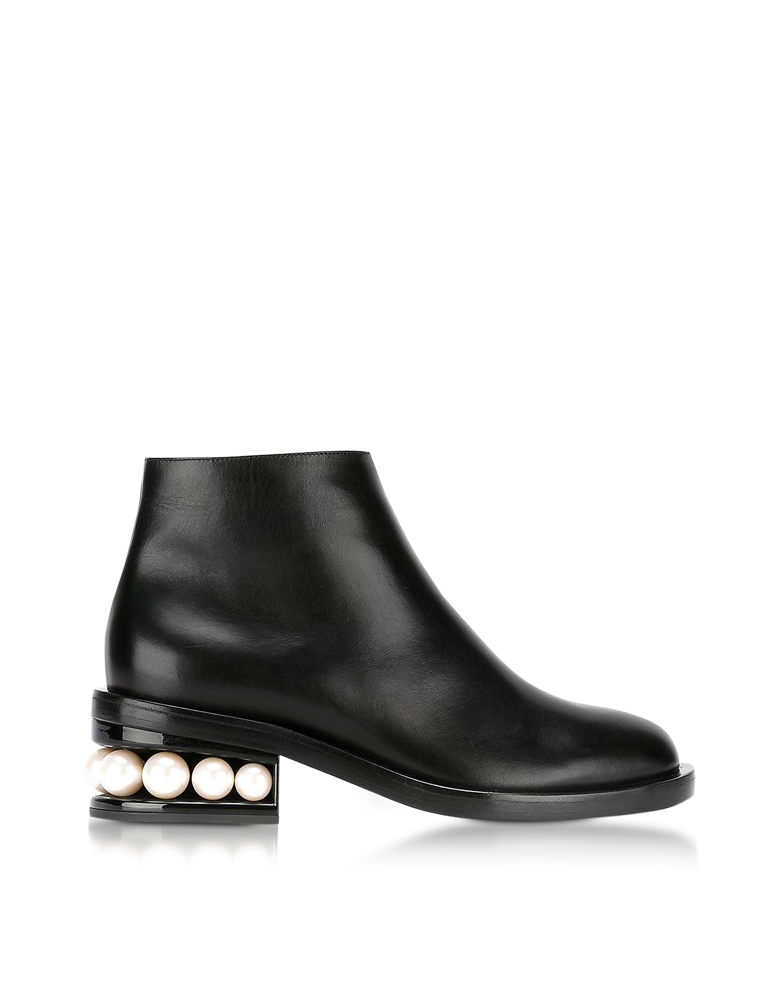 Фото Casati - Черные Кожаные Ботинки с Жемчужинами. Купить с доставкой