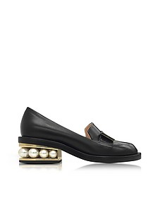 Casati Black Leather Pearl Moccasin - Nicholas Kirkwood