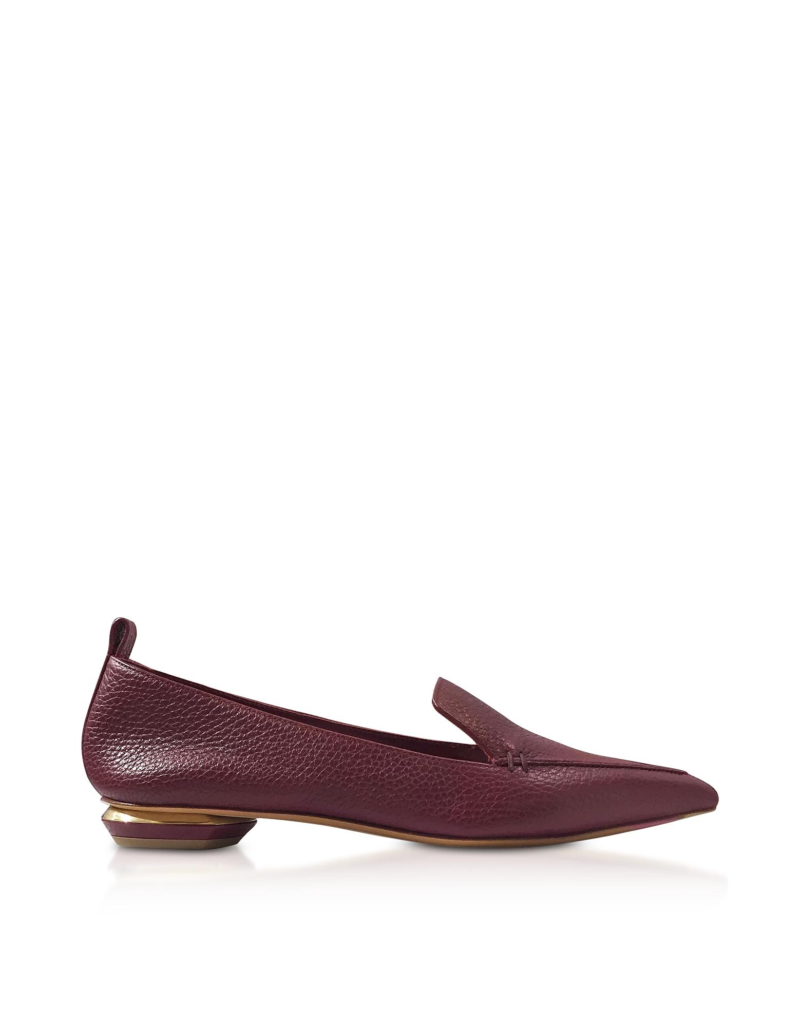 Image of Nicholas Kirkwood Designer Shoes, Beya Burgundy Tumbled Leather Loafers