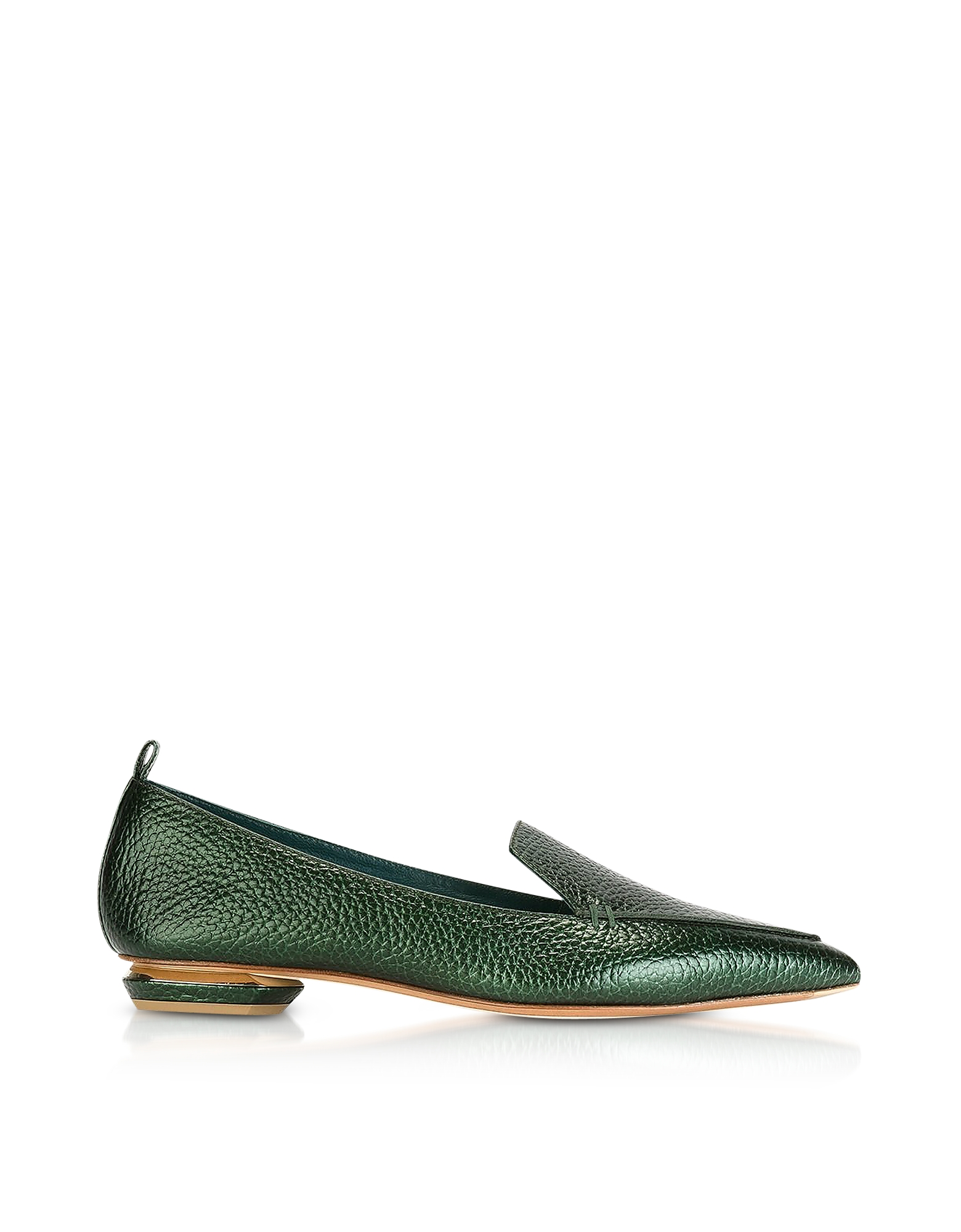 Nicholas Kirkwood Shoes, Beya Metallic Emerald Green Tumbled Leather Loafers