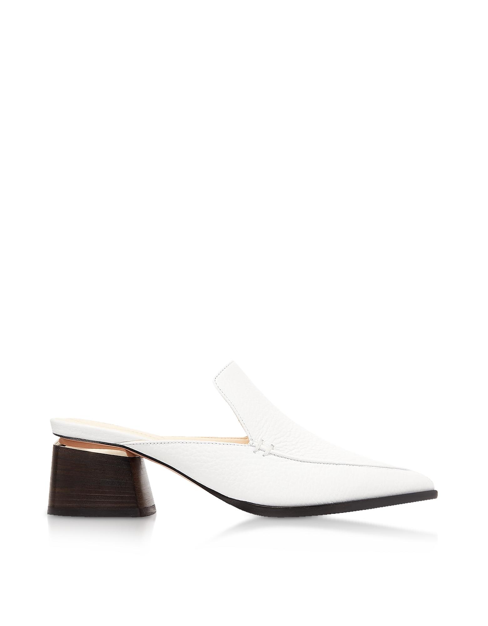 Image of Nicholas Kirkwood Designer Shoes, 55mm Beya White Tumbled Leather Mules
