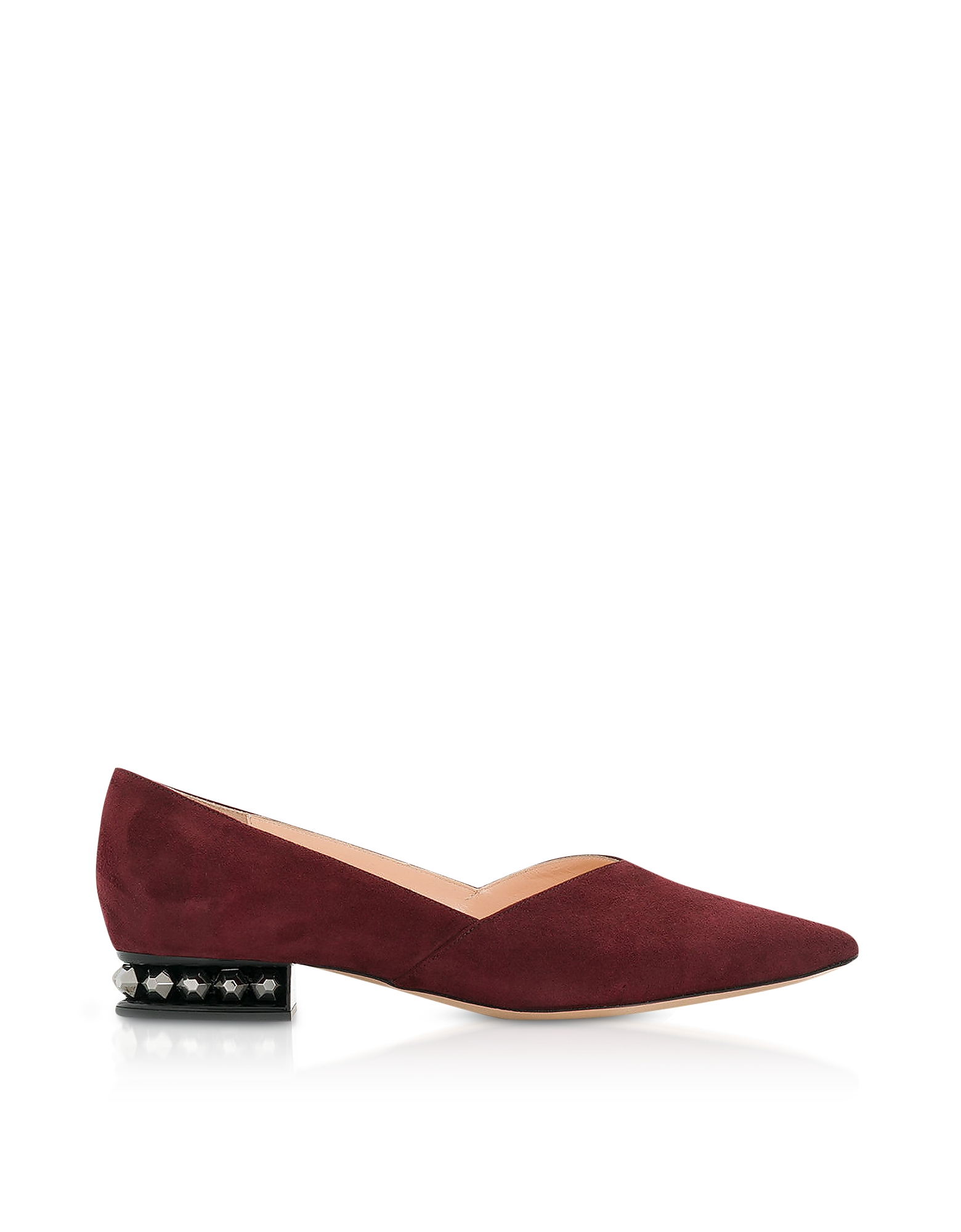 Image of Nicholas Kirkwood Designer Shoes, Aubergine Suede 25mm Suzi Ballerinas