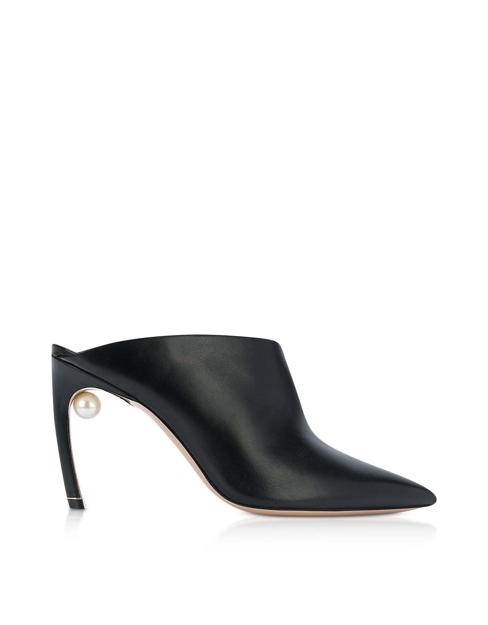 Nicholas Kirkwood Shoes, Black Nappa 90mm Mira Pearl Mules