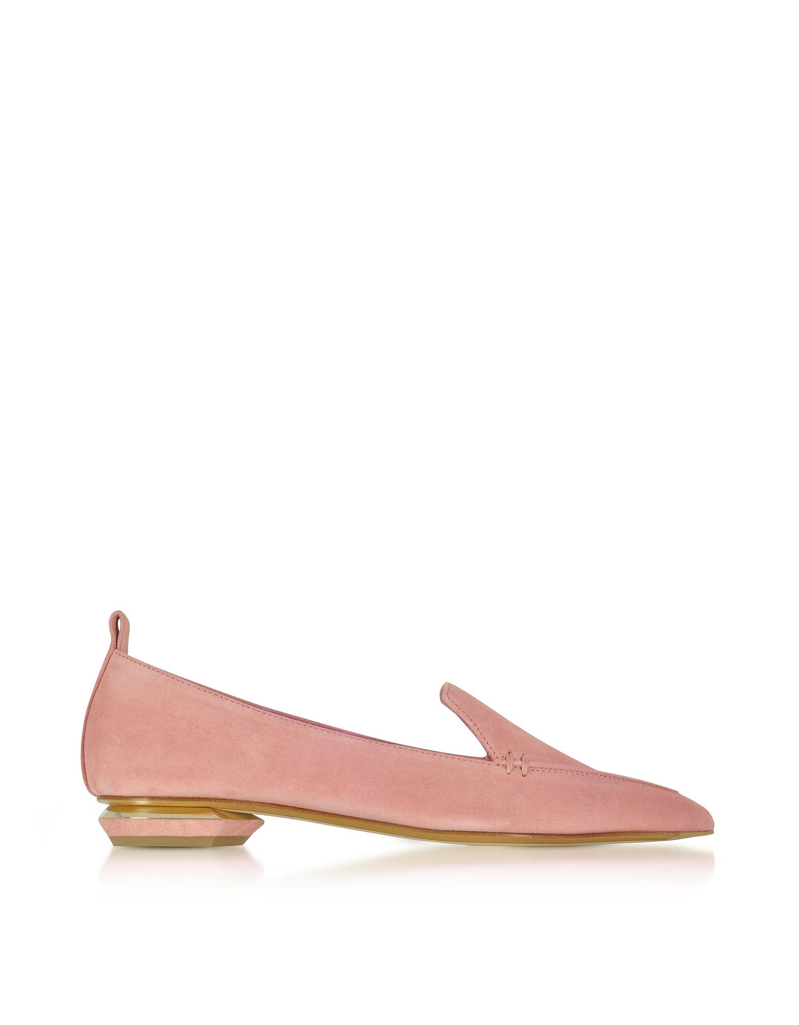 Nicholas Kirkwood Shoes, Beya Dusty Pink Suede Loafer