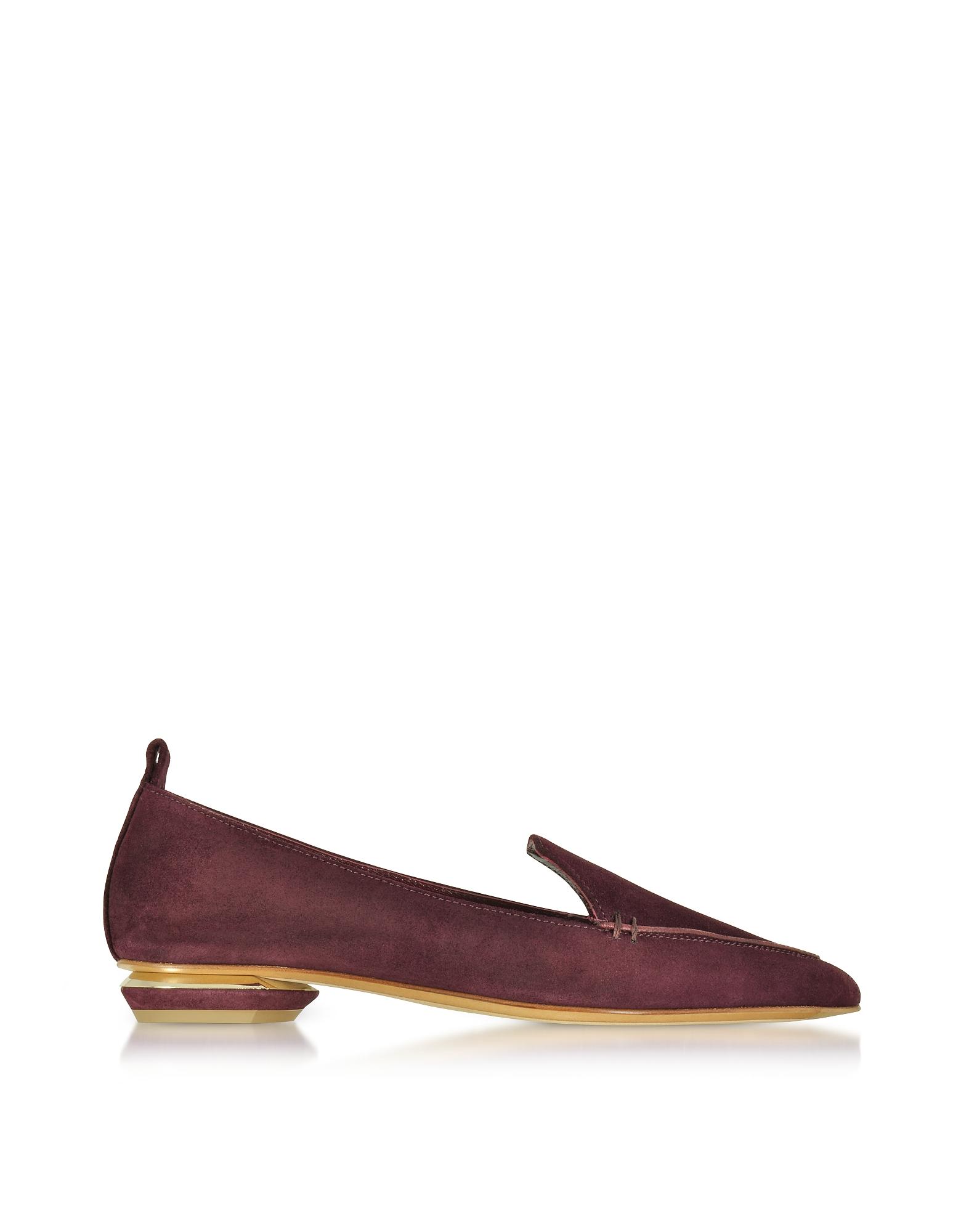 Nicholas Kirkwood Shoes, Beya Deep Plum Suede Loafer