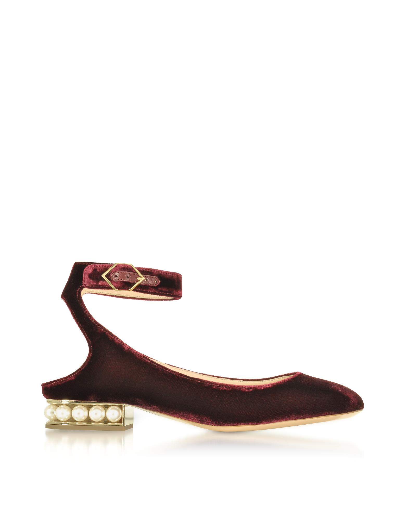 Nicholas Kirkwood Shoes, Deep Plum Velvet Lola Pearl Slingback Ballerina