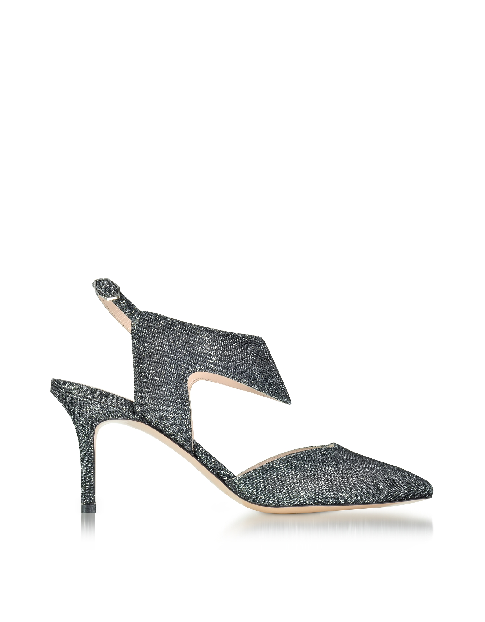 Nicholas Kirkwood Shoes, 70mm Gunmetal Fabric Leda Pump