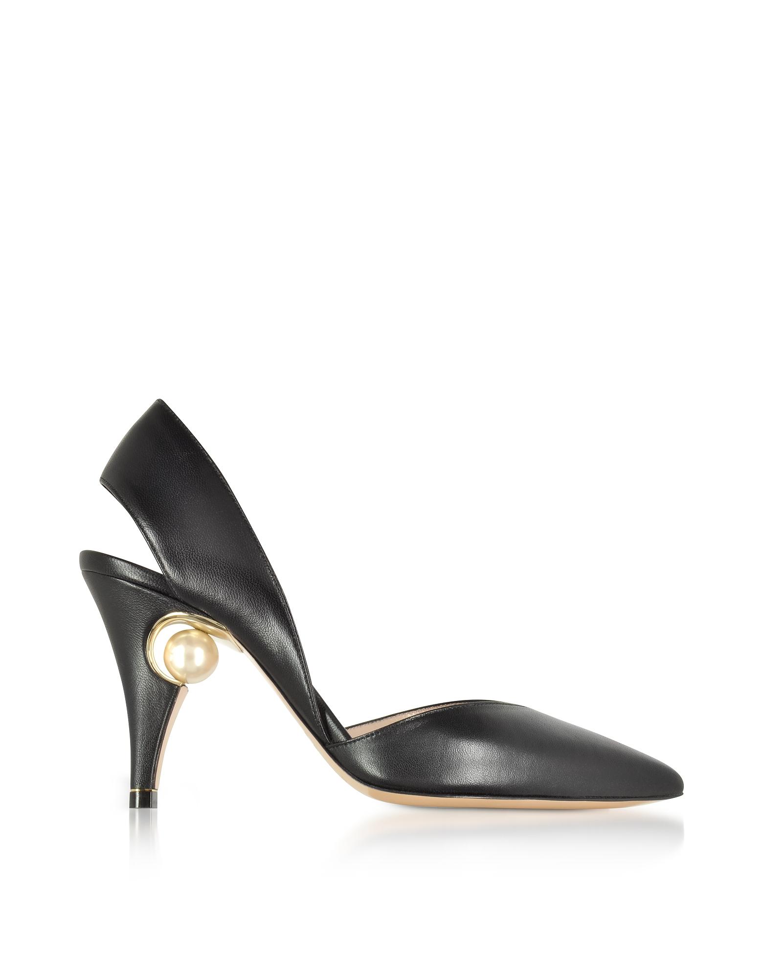 Nicholas Kirkwood Shoes, Penelope Pearl Black Nappa Leather Sling Pump