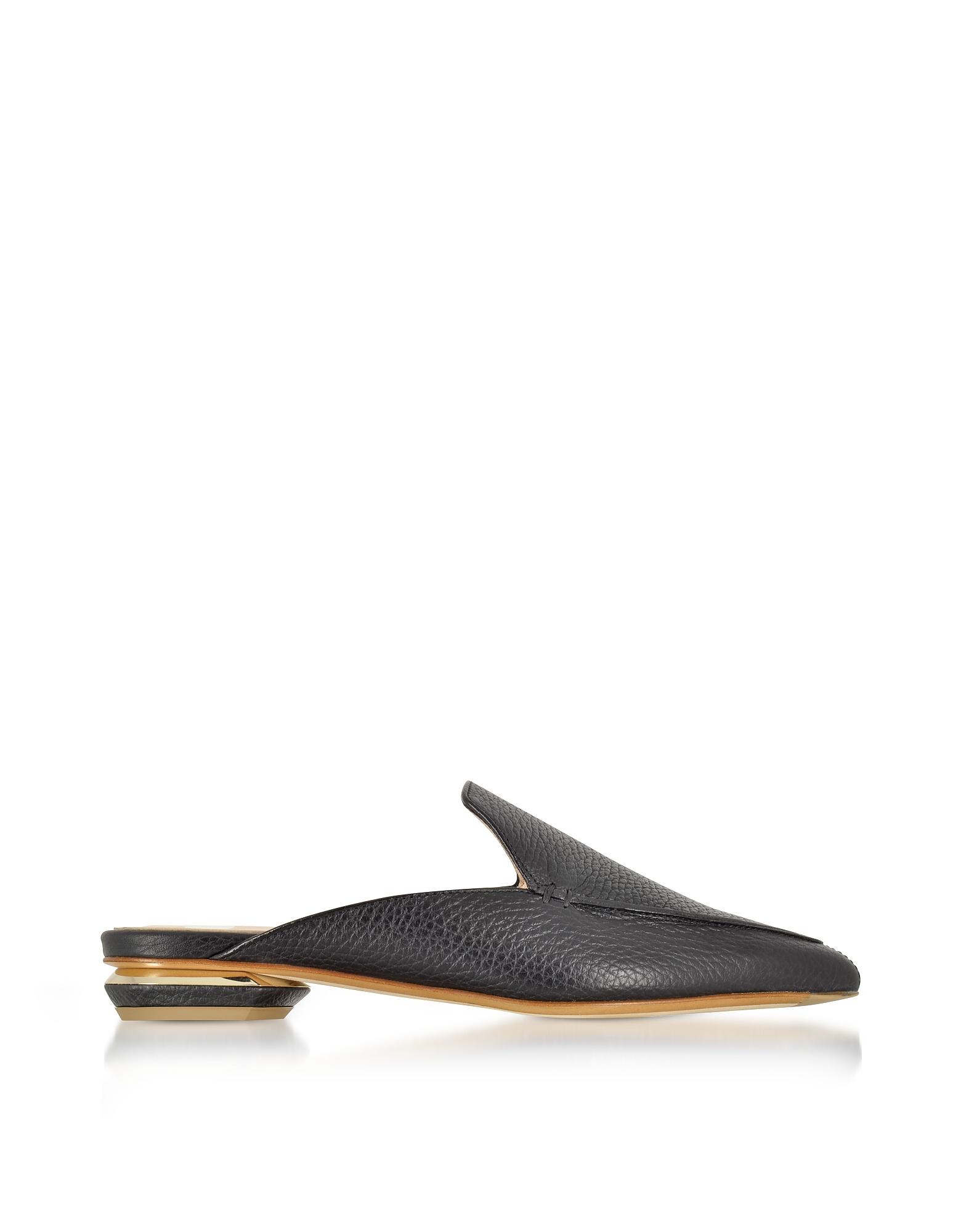 Image of Nicholas Kirkwood Designer Shoes, Beya Black Tumbled Leather Mules