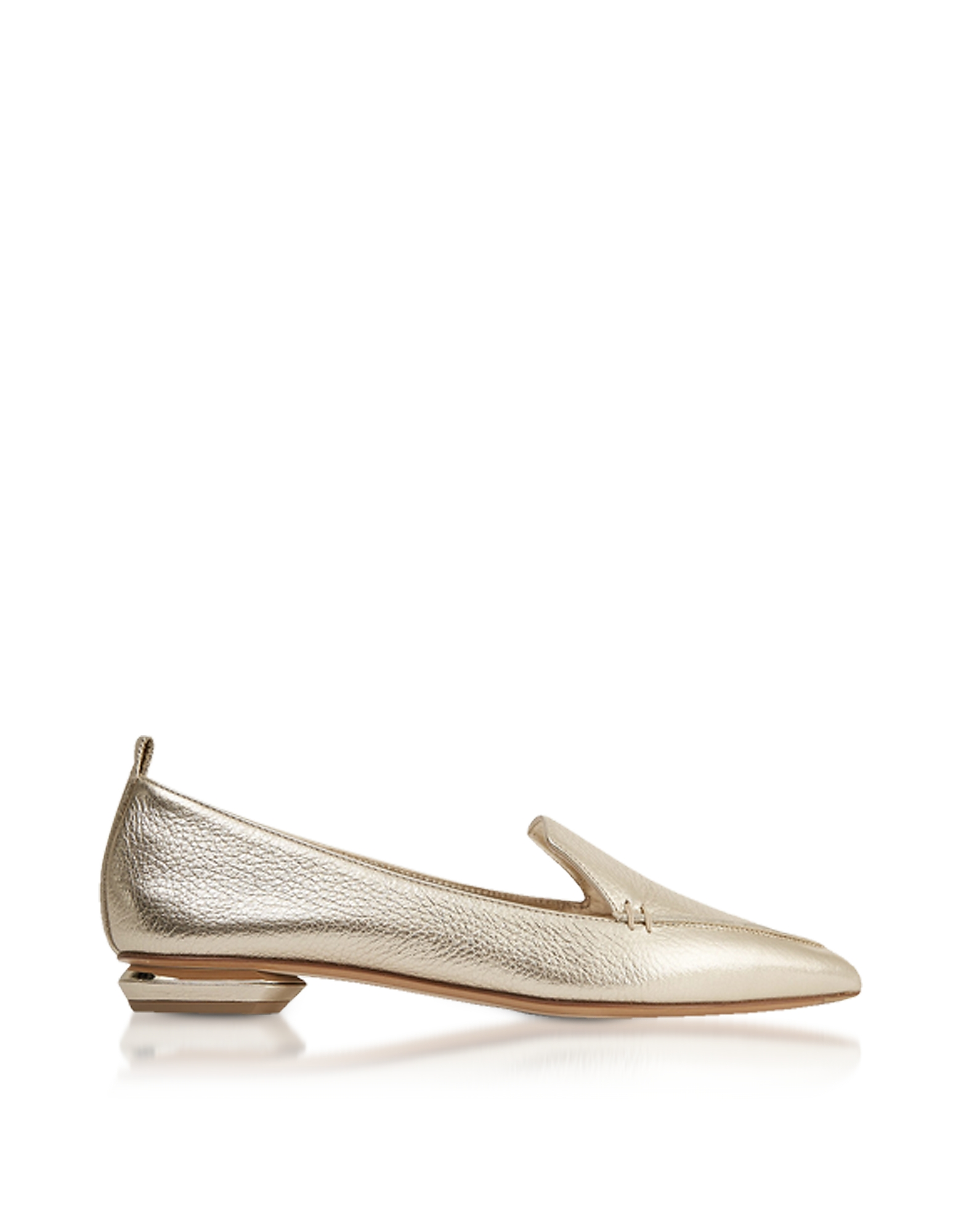 Nicholas Kirkwood Shoes, Beya Metallic Platino Tumbled Leather Loafers