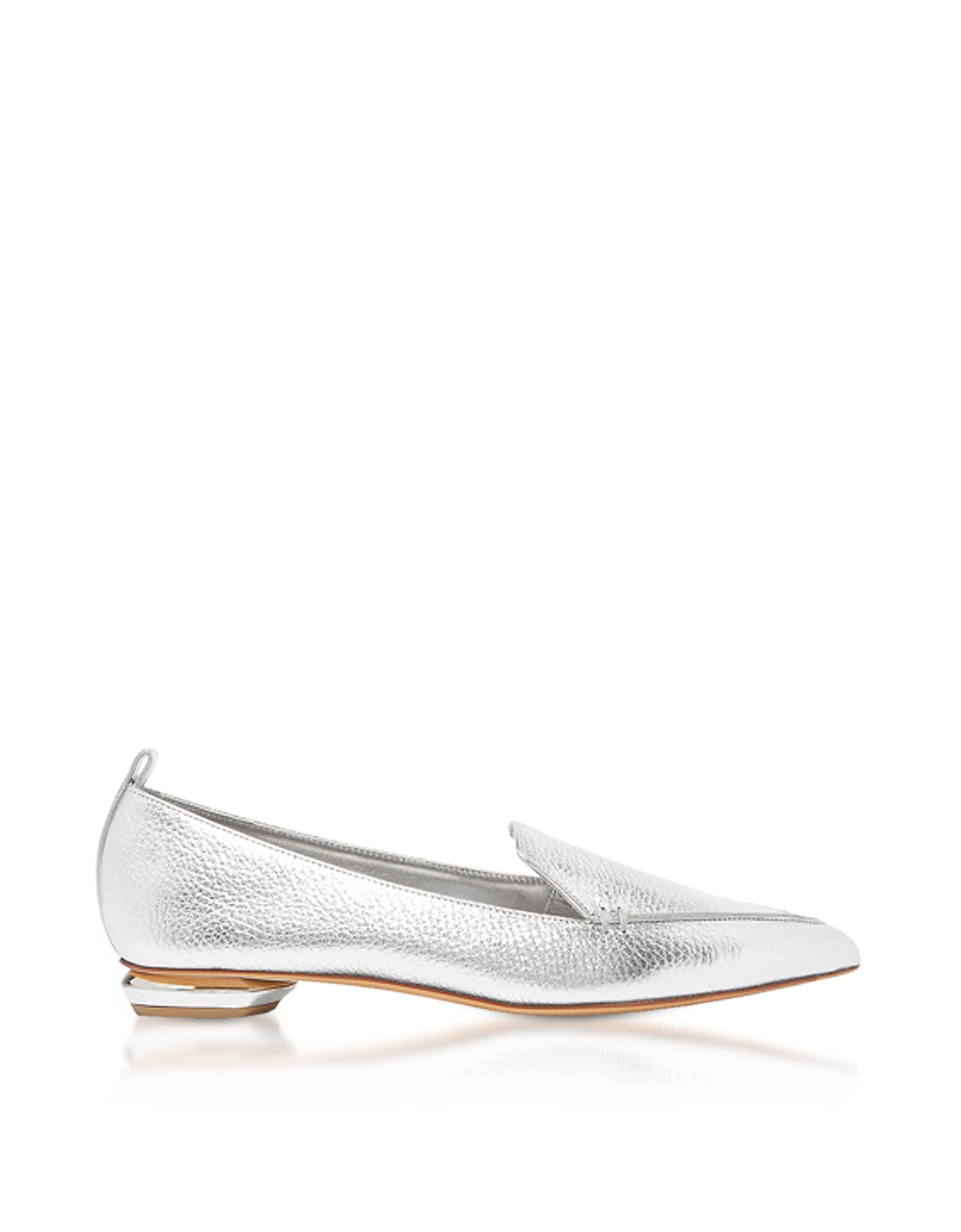 Nicholas Kirkwood Shoes, Beya Metallic Silver Tumbled Leather Loafers