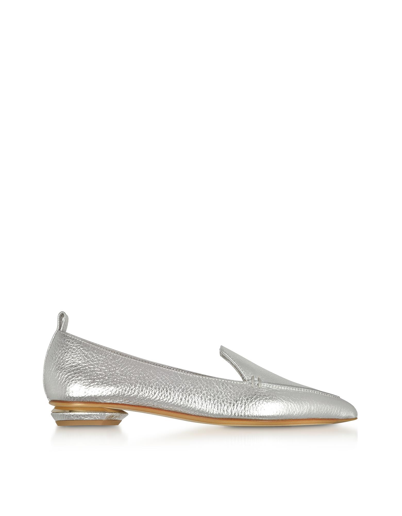 Nicholas Kirkwood Shoes, Beya Metallic Silver Tumbled Leather Loafers
