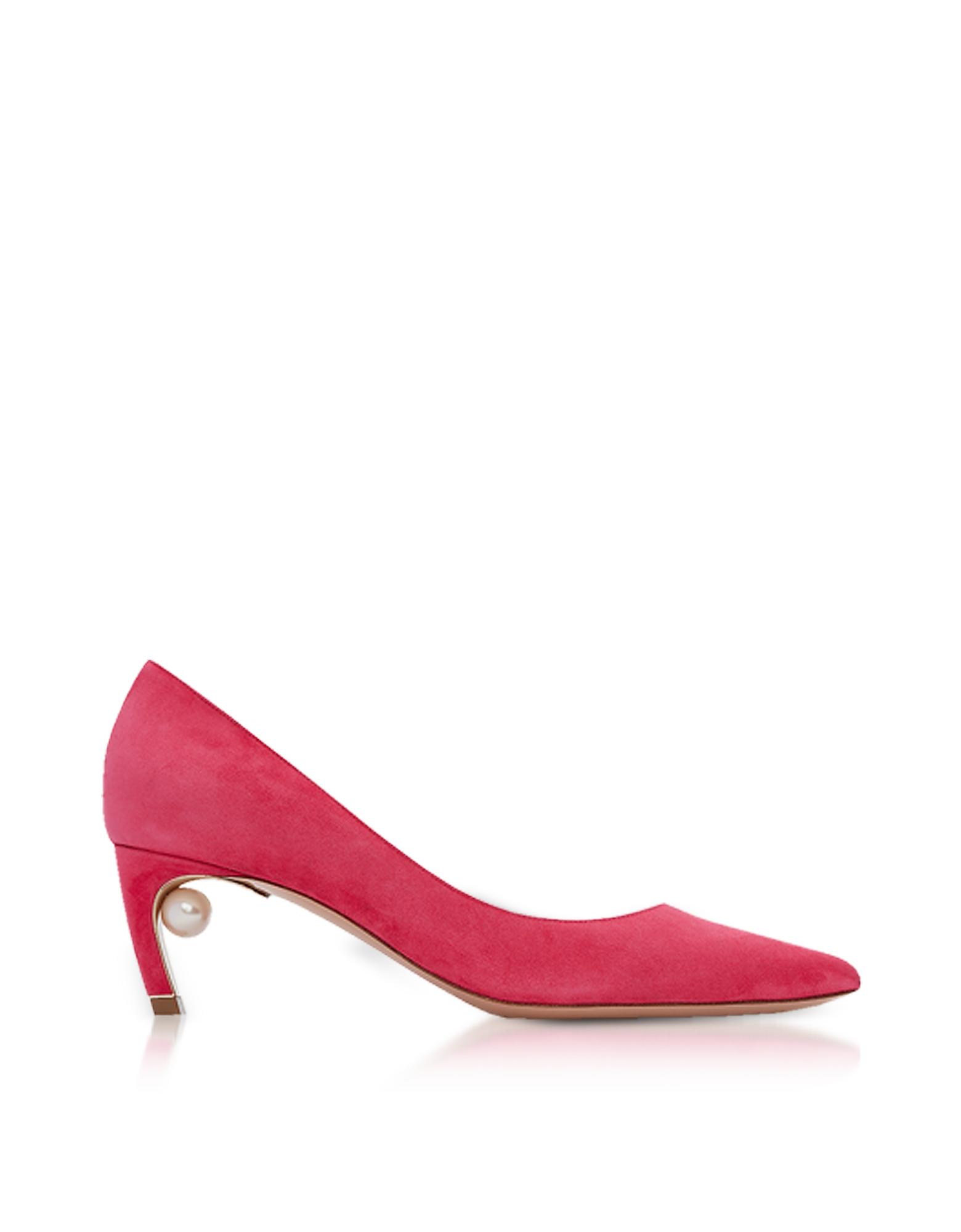 Nicholas Kirkwood Shoes, Fuxia Suede 55mm Mira Pearl Pumps