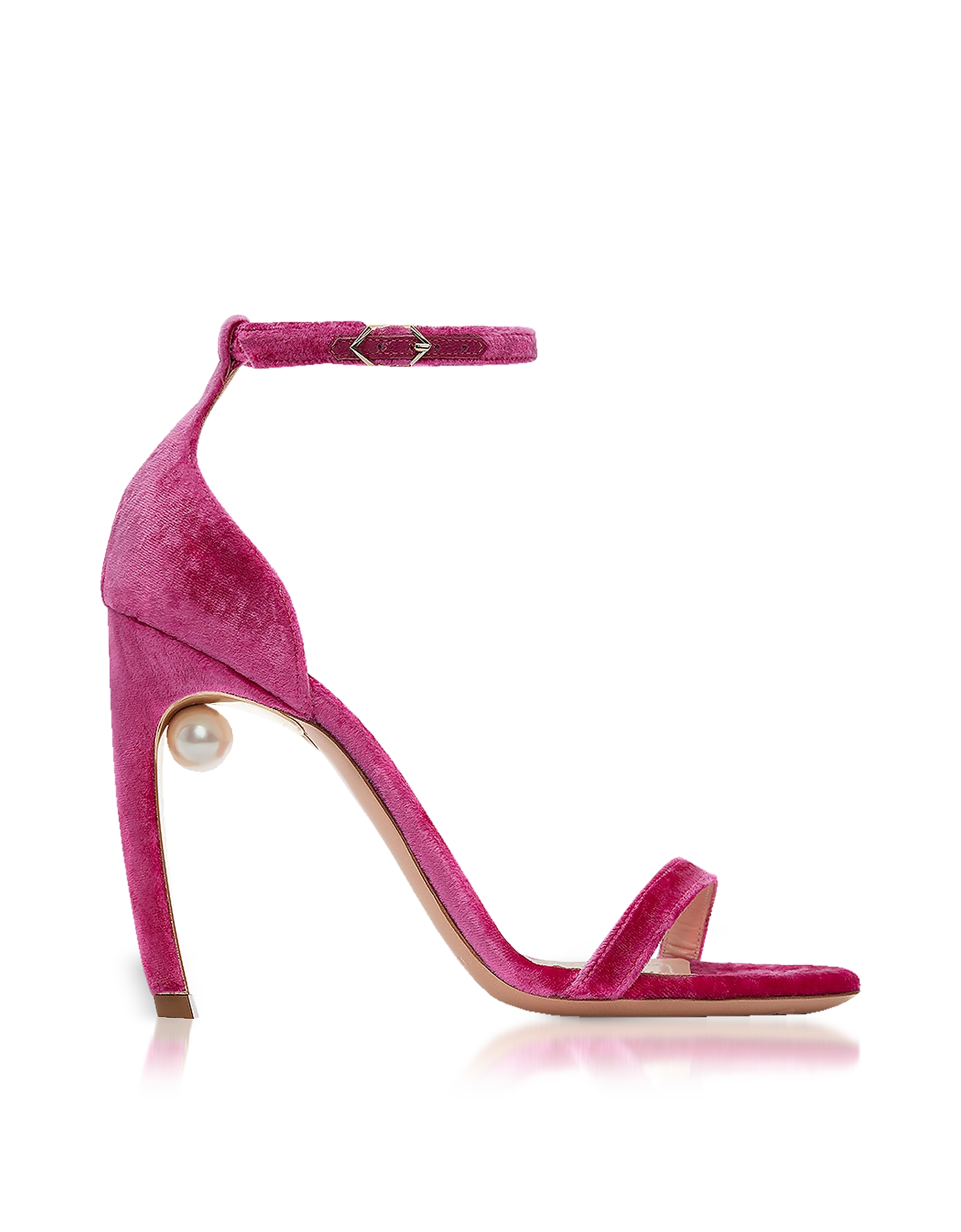 Nicholas Kirkwood Shoes, Fuchsia Velvet 105mm Mira Pearl Sandals