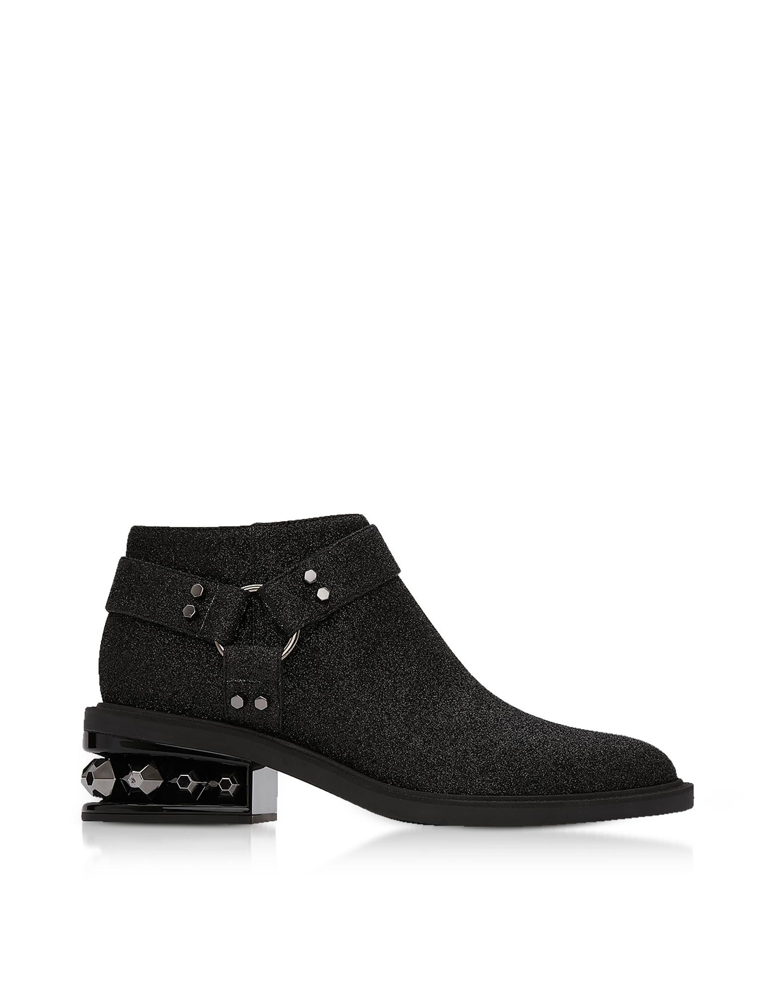 Nicholas Kirkwood Shoes, Black Glitter Textured Canvas and Leather 35mm Suzi Low Biker Boots