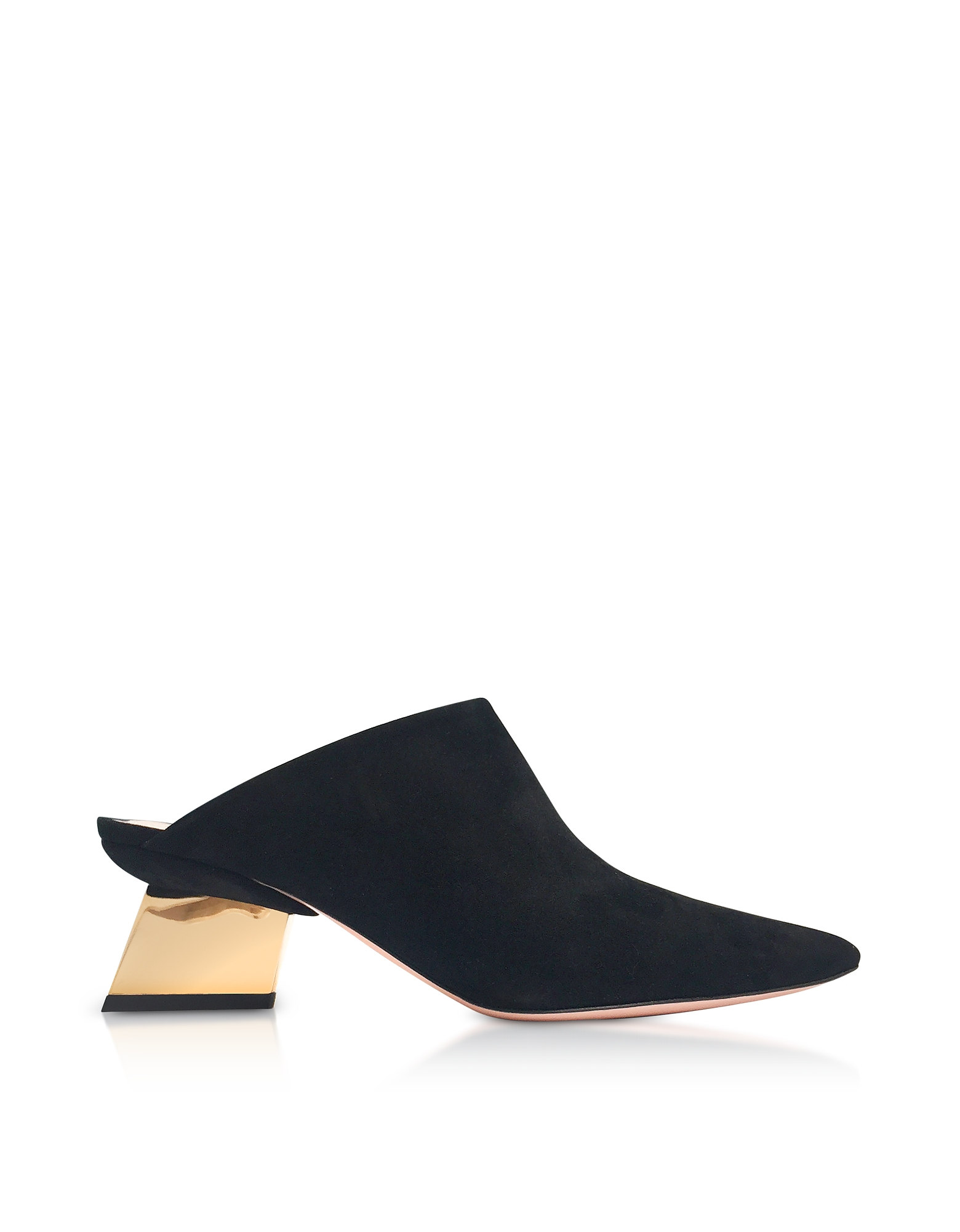 Nicholas Kirkwood Shoes, Black Suede 55mm Veronika Mules