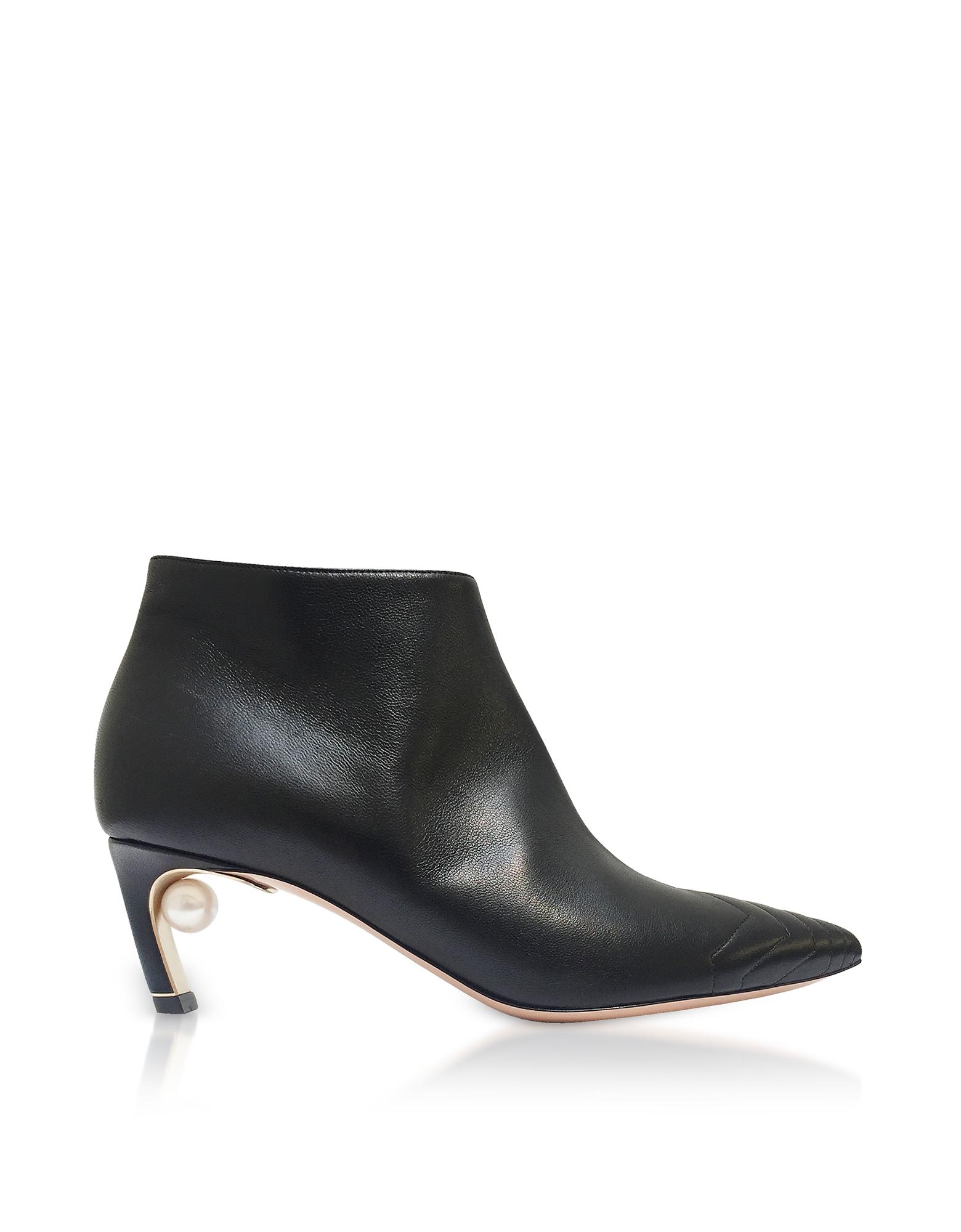 Nicholas Kirkwood Shoes, Black Quilted Nappa 55mm Mira Pearl Low Booties