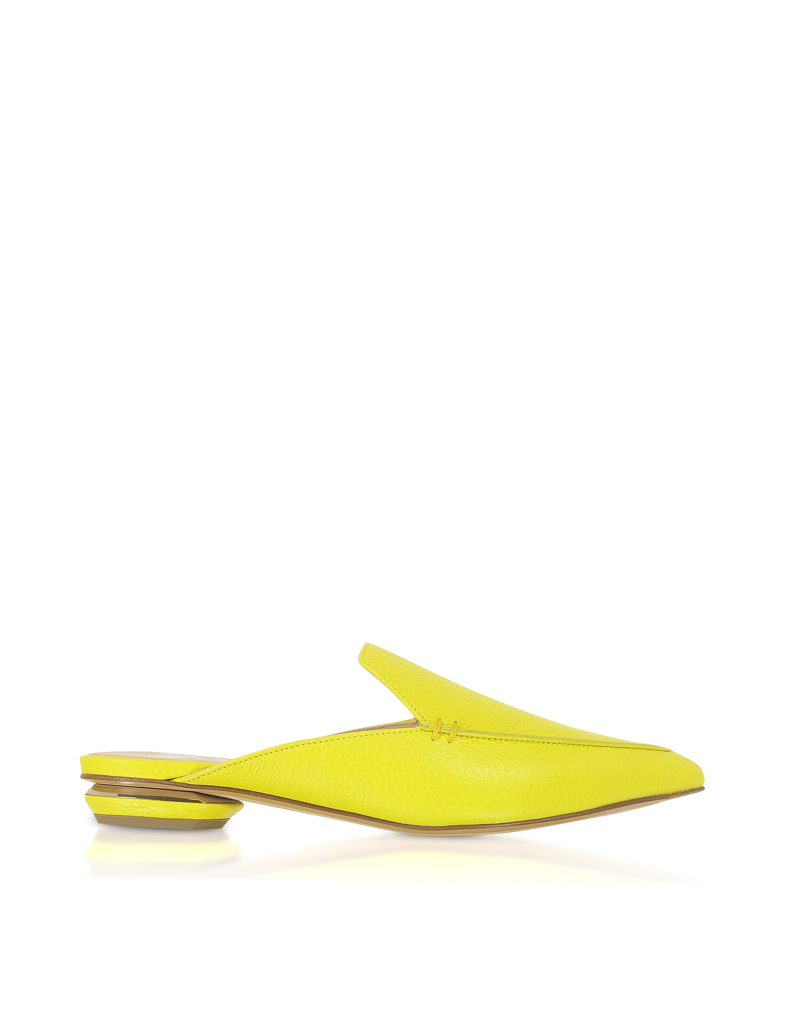Nicholas Kirkwood Designer Shoes, Fluo Yellow 18mm Beya Flat Mules