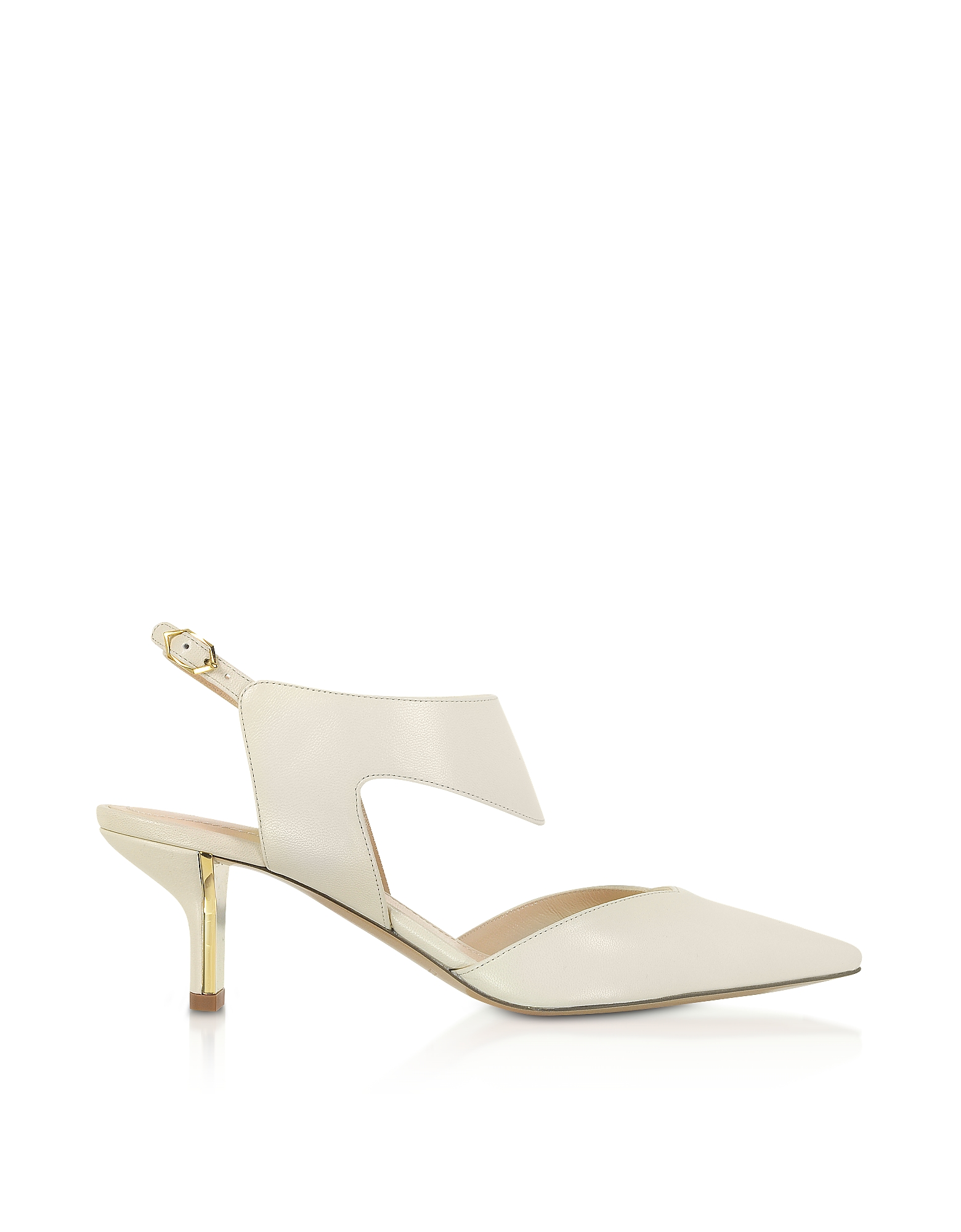 Nicholas Kirkwood Designer Shoes, Ecru 60mm Leeloo Sling Pumps