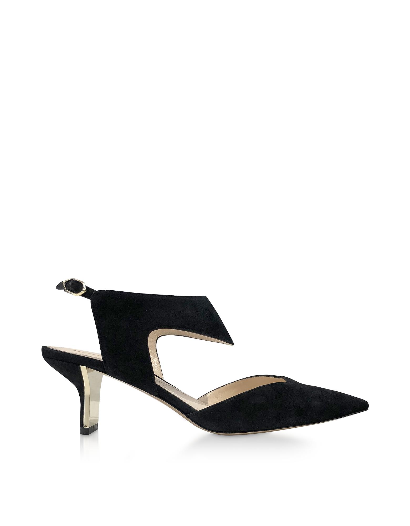Nicholas Kirkwood Designer Shoes, Black Suede 60mm Leeloo Sling Pumps