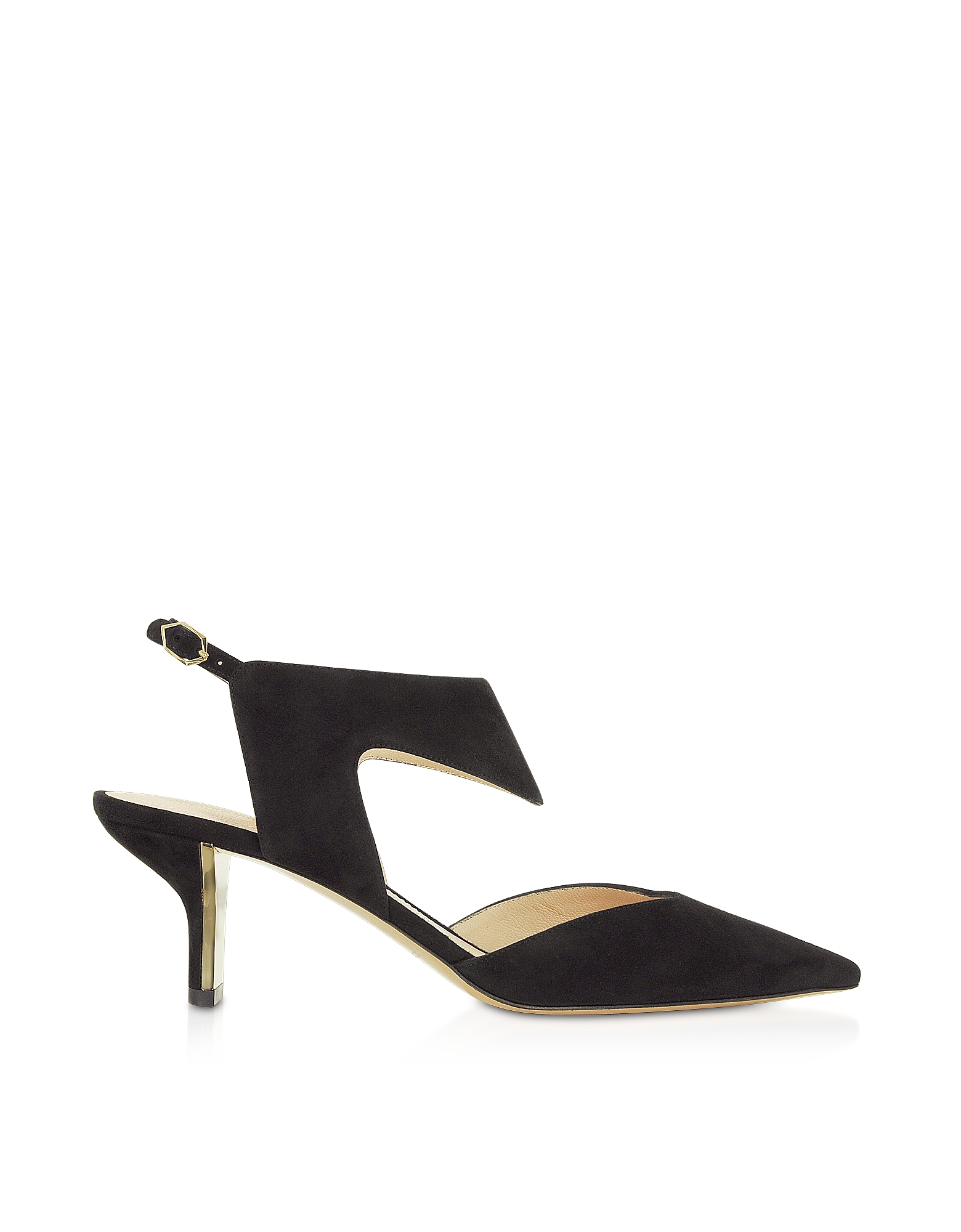 Nicholas Kirkwood Designer Shoes, Black Suede 60mm Leeloo Sling Pumps