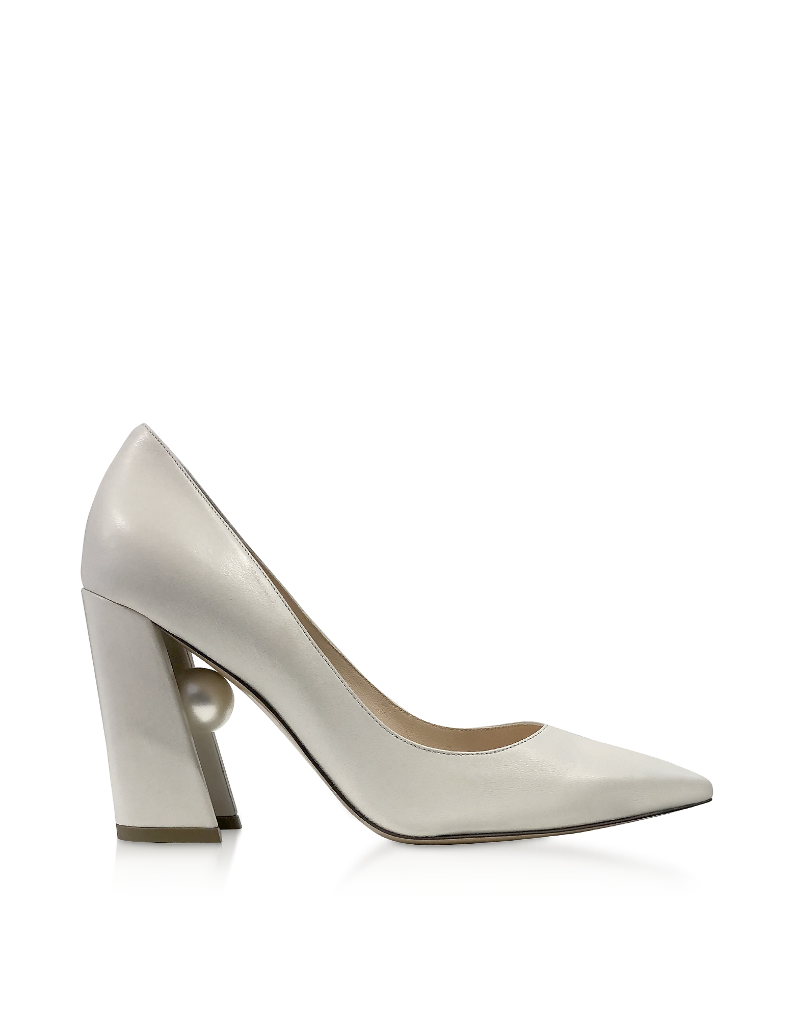 Nicholas Kirkwood Designer Shoes, Ecru Nappa Leather 90mm Miri Pumps
