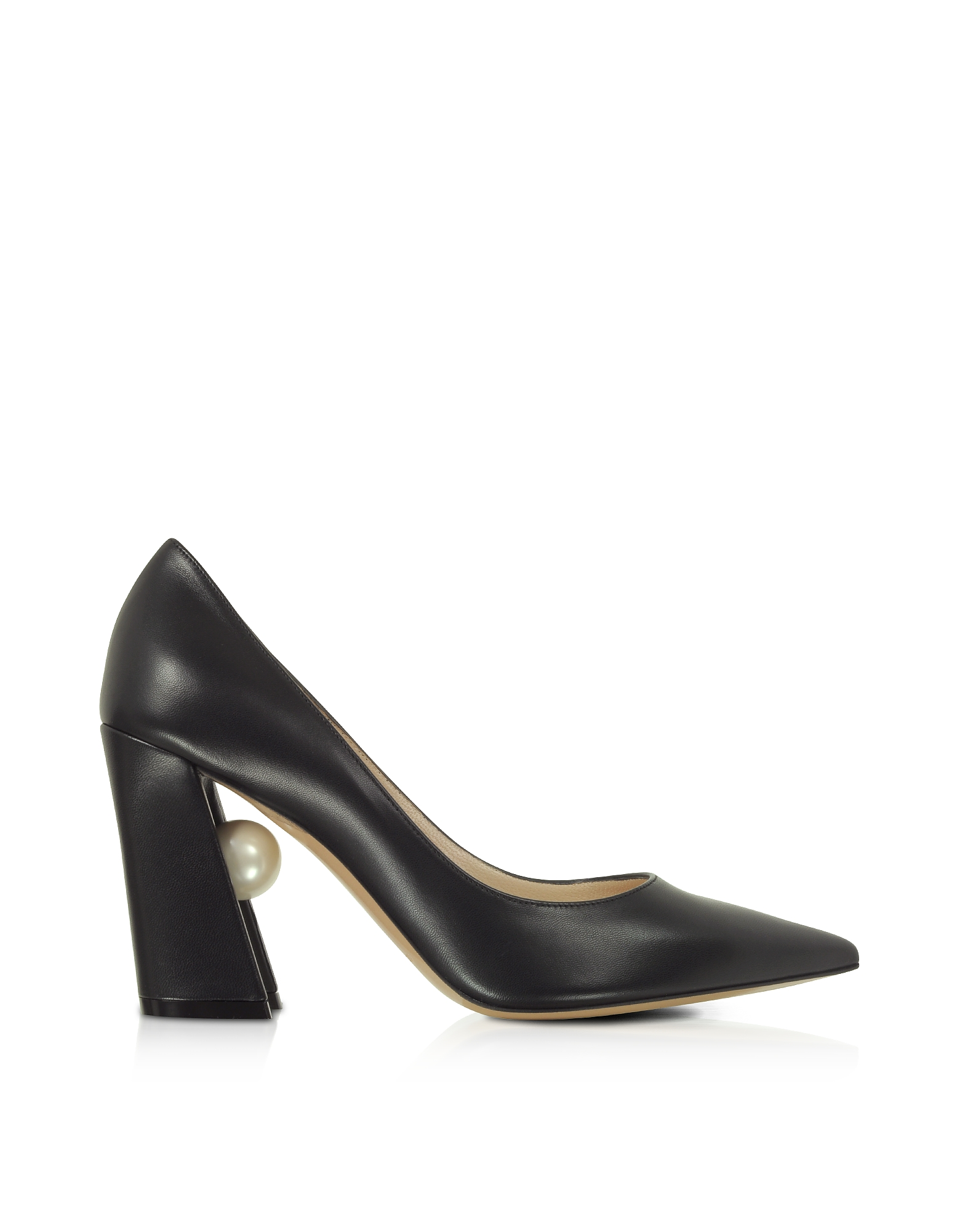 Nicholas Kirkwood Designer Shoes, Black Nappa Leather 90mm Miri Pumps
