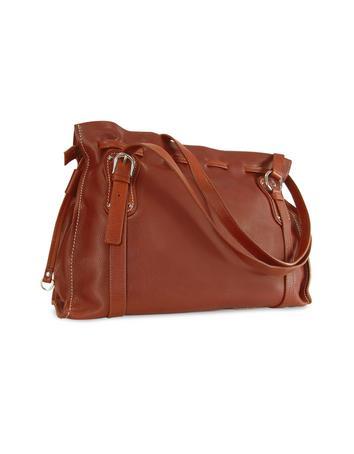 Foto der Handtasche Nuovedive Grosse Henkeltasche aus italienischem Leder in kastanienbraun