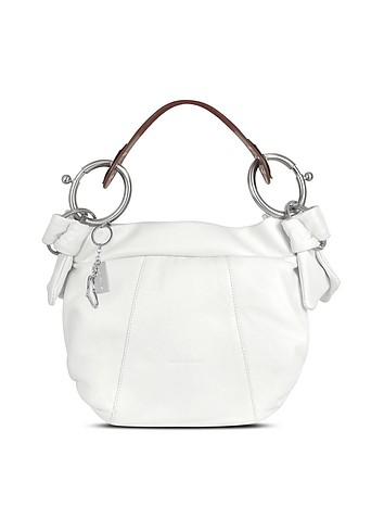 Nuovedive White & Brown Calf Leather Hobo Bag :  handbag handbags italian design italian handmade