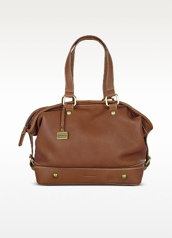Tan Brown Soft Italian Leather Satchel Bag - Nuovedive