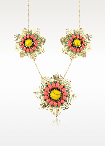 Gypsunset 3 Suns Pink and Yellow Necklace  - Les Nereides