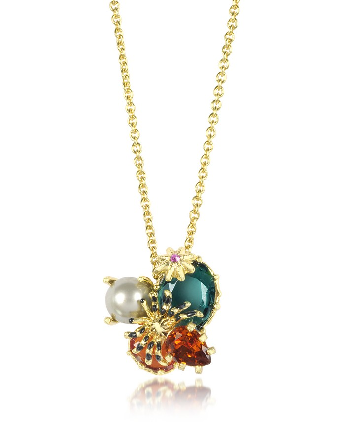Eclatante Discretion Little Spider, Blue Stone and Red Star Necklace - Les Nereides