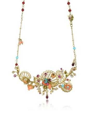 Neo Bourgeoise Arabesques Metal Lace and Embroidery Necklace