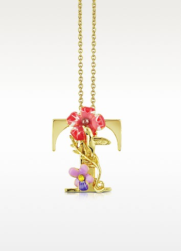 Alphabet Fleuri - T Charm Necklace - Les Nereides