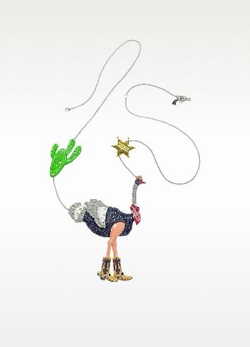 Les Mechamment Joyeux - Ostrich Cowboy Long Necklace  - N2