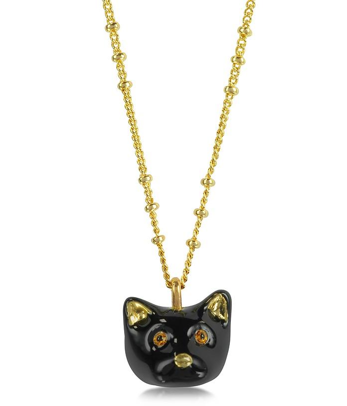 Tout Beau Tout Doux Black Cat Charm Necklace - Les Nereides