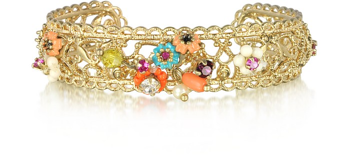 Neo Bourgeoisie Metal Lace and Embroidery Bangle - Les Nereides