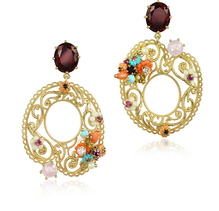 Neo Bourgeoise Asymmetrical Metal Lace and Embroidery Earrings - Les Nereides
