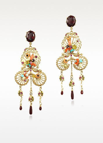 Neo Bourgeoise Metal Lace and Embroidery Earrings - Les Nereides