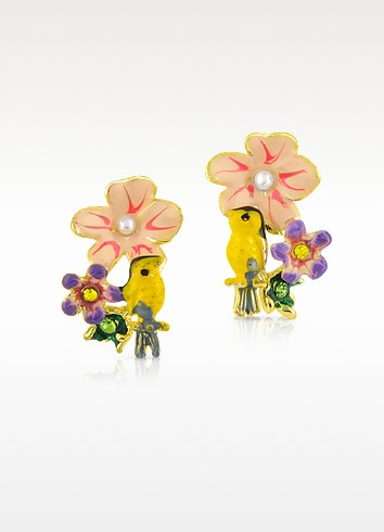 Alphabet Fleuri - Bird & Flower Earrings - Les Nereides