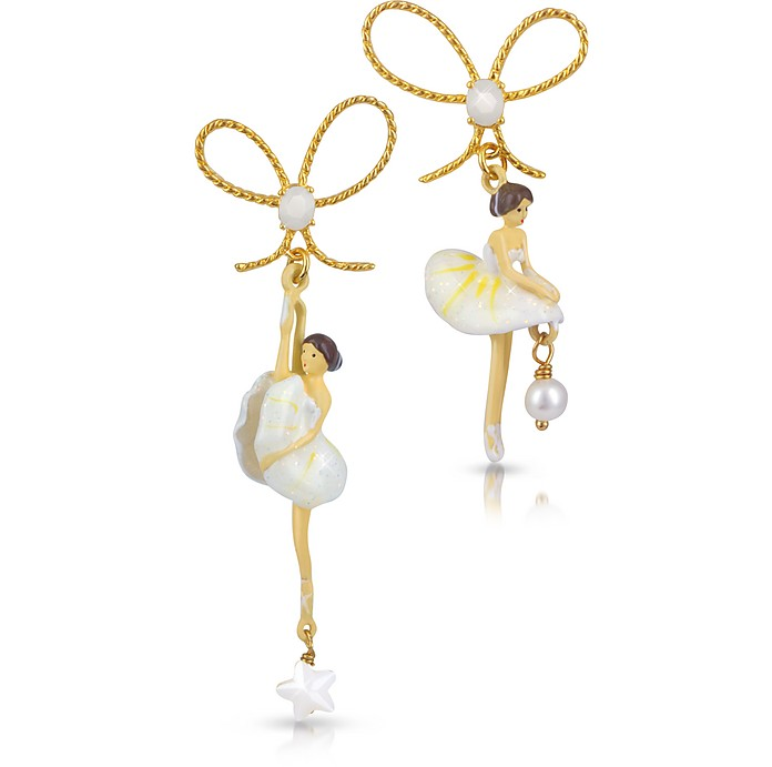 Pas de Deux - White Ballerinas Asymmetrical Earrings  - Les Nereides