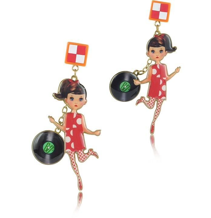 Le Twist - Brunette Dancer Long Earrings - N2
