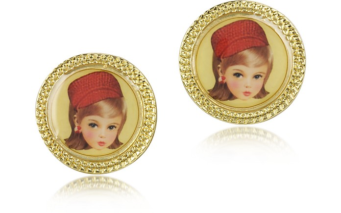 La Fete Foraine - Doll with a Red Hat Earrings - N2