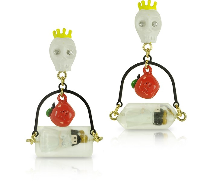 Skull, Poisoned Apple and Snow White in Her Glass Earrings - N2